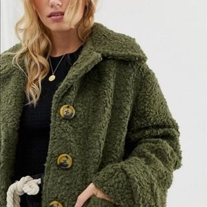 NWT Free People Teddy Coat + pockets olive green